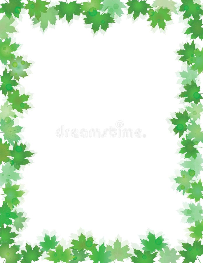 Green leaves border isolated on White with copy space. Spring or summer foliage frame for text. Jpg and Editable vector illustration, EPS10 royalty free illustration