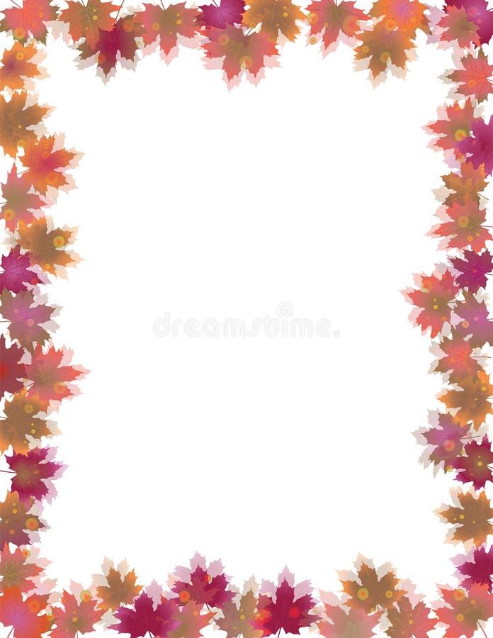 Fall Leaves Border isolated on White. stock illustration