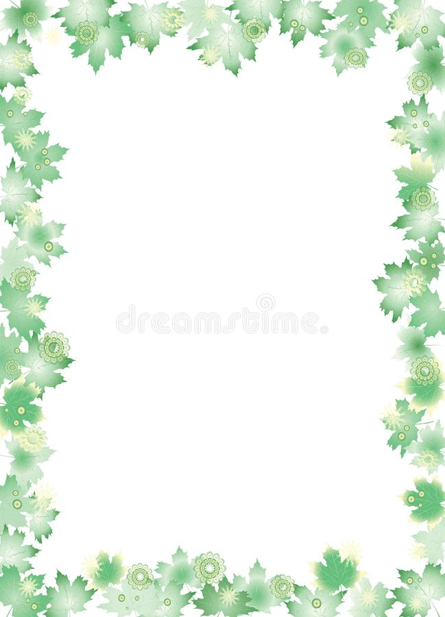 Green leaves border isolated on white background. royalty free illustration