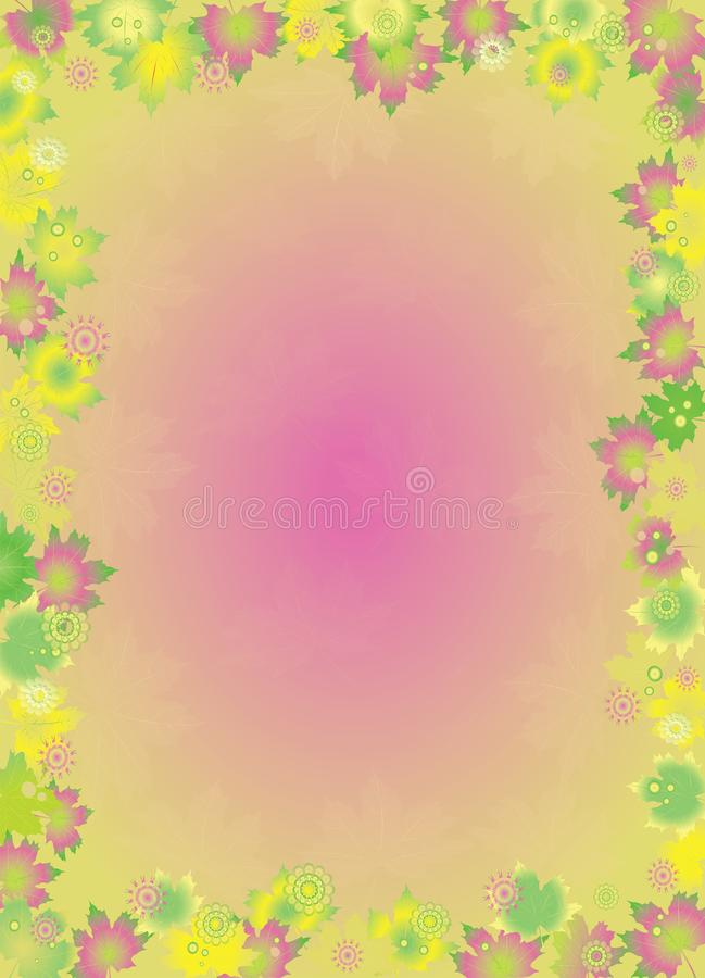 Colorful leaves border isolated on pink background. vector illustration