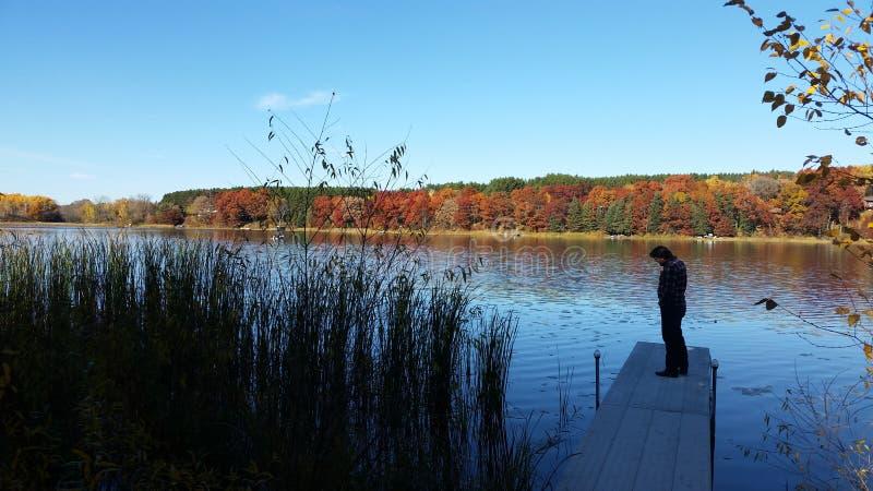 Fallfarben auf dem See stockbilder