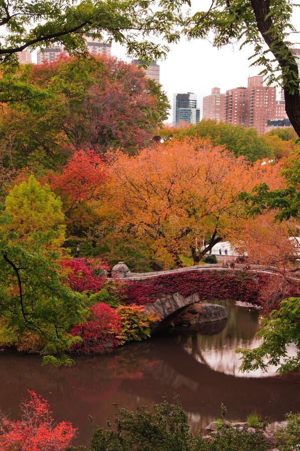 Fallfarben an der Gapstow Brücke in Central Park. lizenzfreie stockfotos