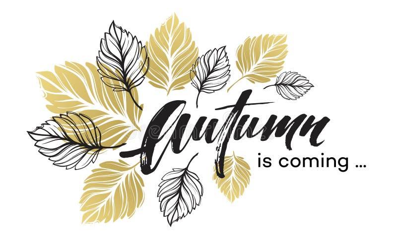Fallhintergrunddesign mit goldenem und schwarzem Herbstlaub Auch im corel abgehobenen Betrag lizenzfreie abbildung