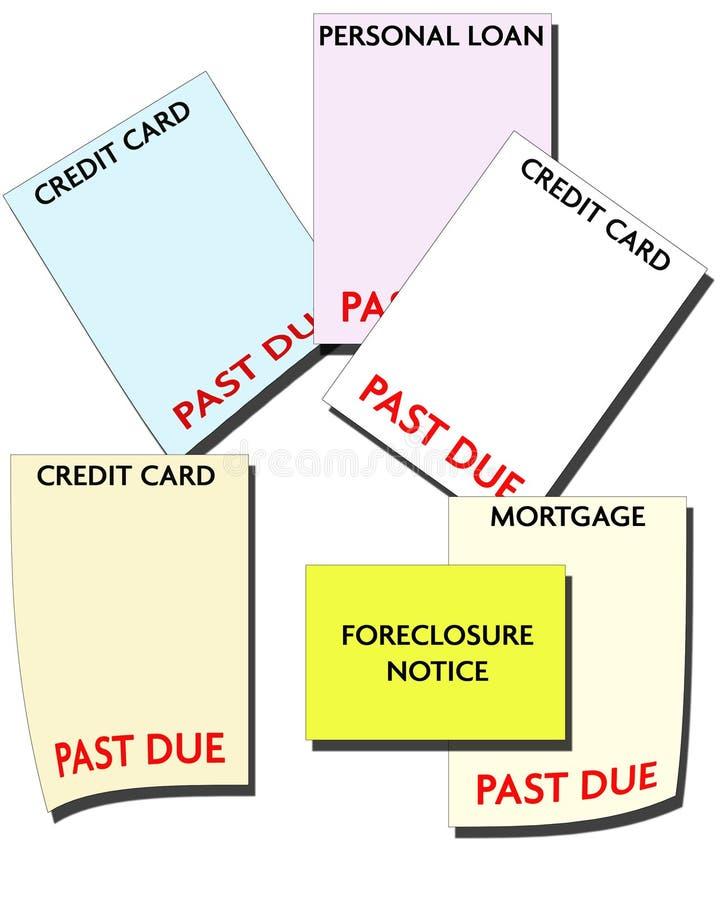 Fallimento - debito di consumatore illustrazione di stock