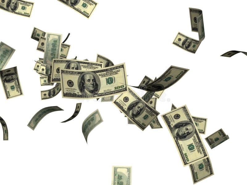 Falling 100 dollar bills. Falling American 100 dollar bills money against white background