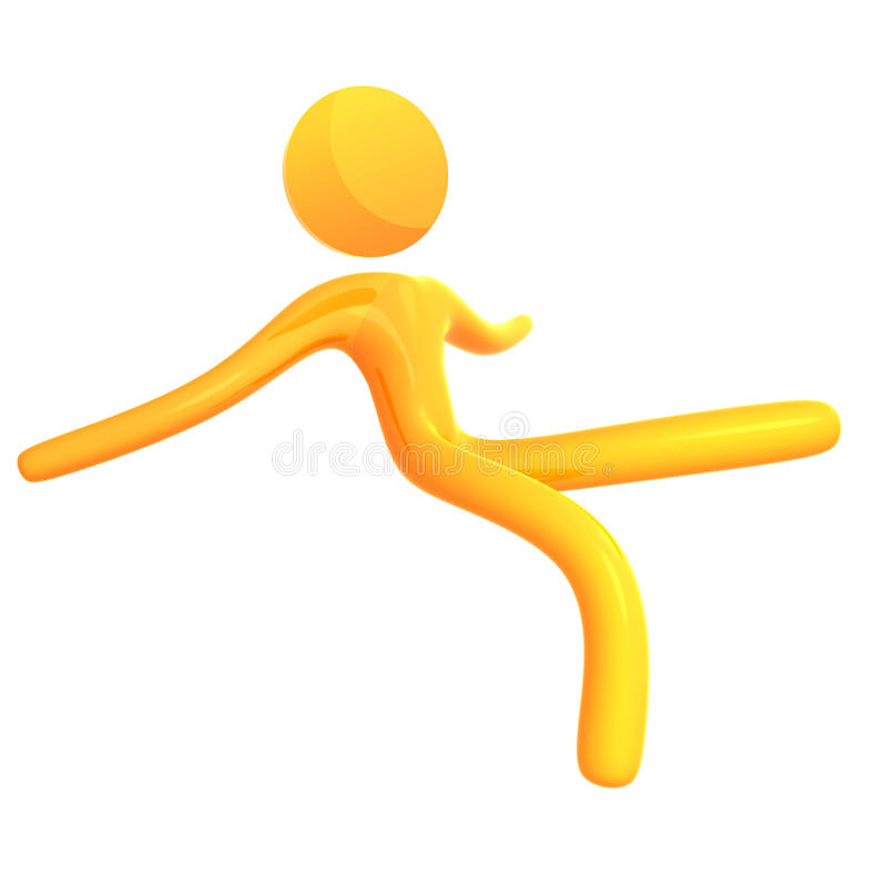 Falling 3d humanoid icon stock illustration