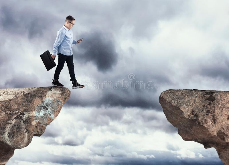 Falling into the abyss royalty free stock photos
