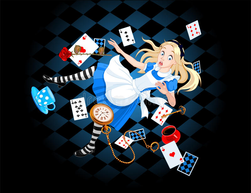 Falling Alice. Alice is falling down into the rabbit hole