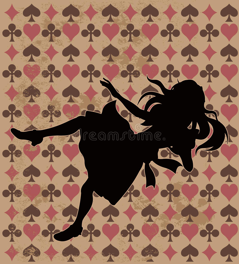 Falling Alice Silhouette vector illustration