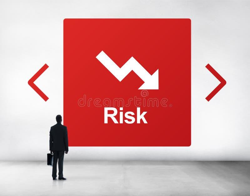 Falling Arrow Financial Icon Word Concept. Falling Arrow Financial Icon Word royalty free stock image