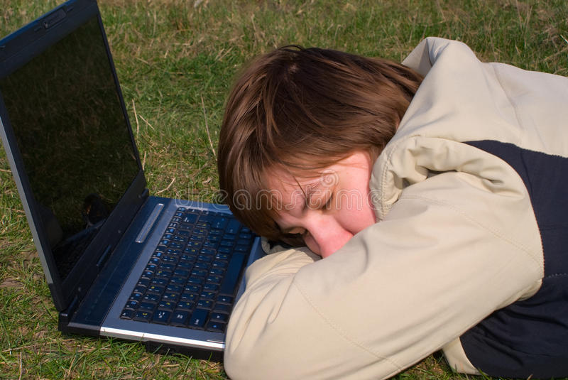 Download Falling asleep young girl stock photo. Image of grass - 9639656