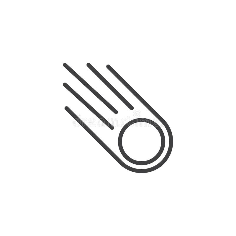 Falling asteroid outline icon royalty free illustration