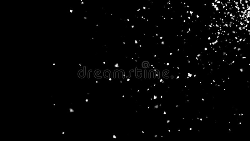 Falling atmospheric snow in space, computer generated abstract background, 3D rendering. Backdrop stock illustration
