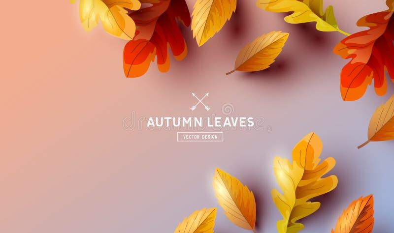 Falling Autumn Leaves Background Elements stock illustration