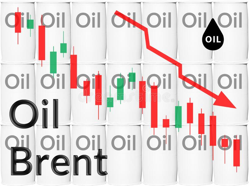 Falling brent oil prices in the stock market. Financial crisis. Concept royalty free stock image