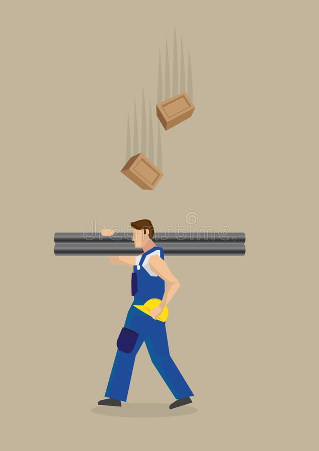 Falling Bricks Workplace Hazard Vector Illustration. Worker carrying metal poles on shoulders with yellow helmet on hand, unaware of falling bricks above him vector illustration