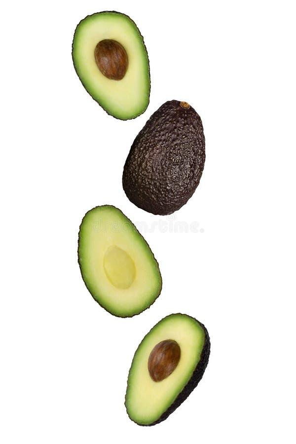 Falling brown avocado geïsoleerd op witte achtergrond met uitknippad als element van pakketontwerp en reclame stock fotografie