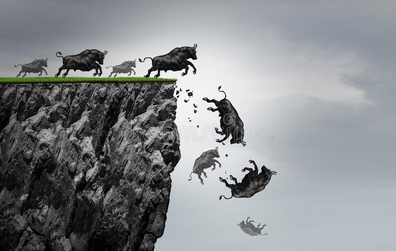 Falling Bull Market. Financial business profit decline as a symbol of losing positive gains in a free fall as a bullish icon falling off a cliff with 3D stock illustration