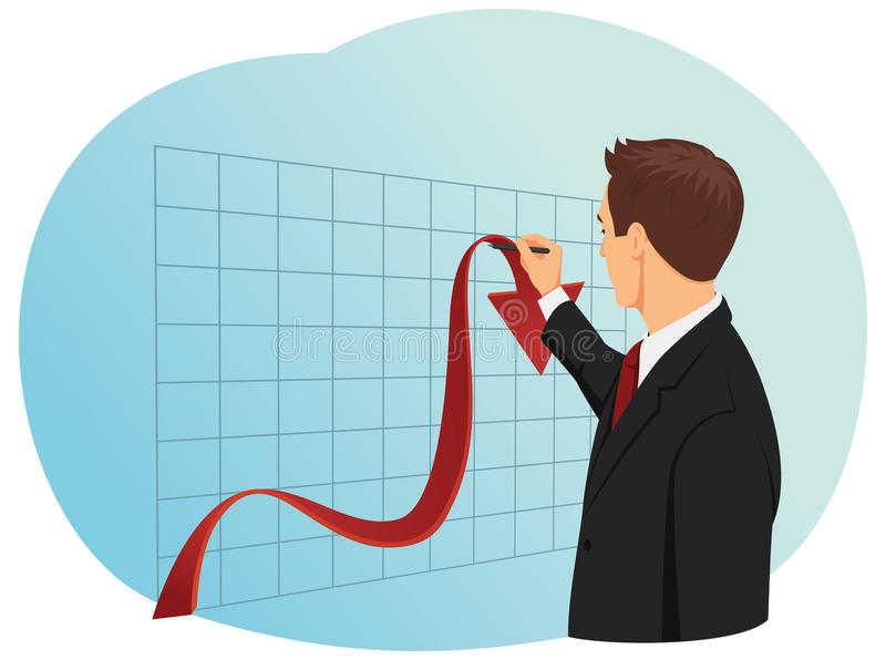 Falling chart. Businessman trying to lift up the falling chart. Economic crisis vector illustration