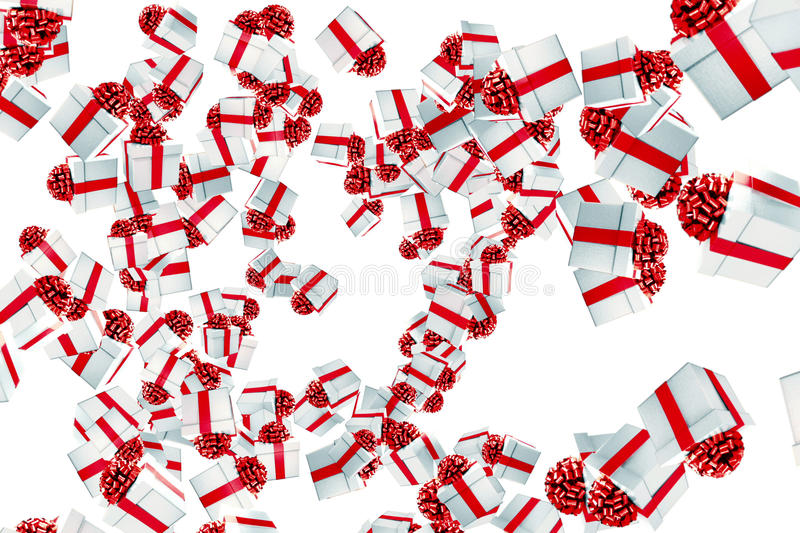 Falling christmas gift boxes with explosion on white background, holiday festive royalty free illustration