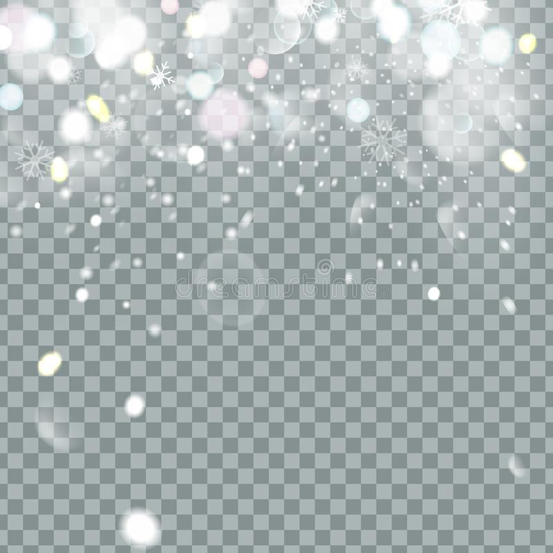 Falling Christmas Shining beautiful snow isolated on transparent background. Snowflakes, snowfall. snowflake vector. Illustration royalty free illustration