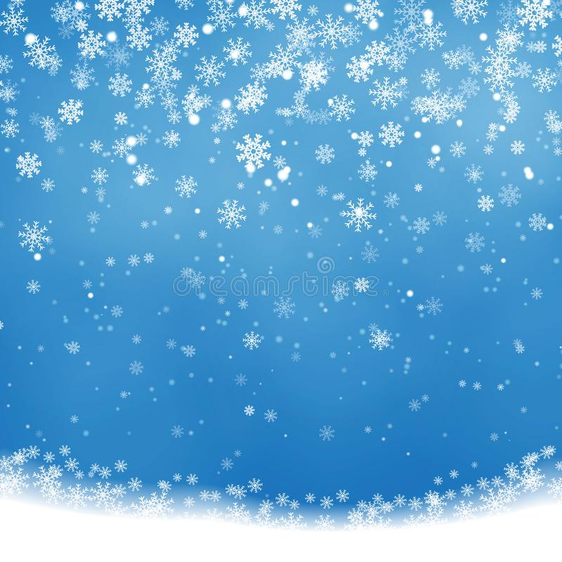 Falling Christmas Shining, transparent beautiful snow isolated on blue background. Snowflakes, snow royalty free illustration