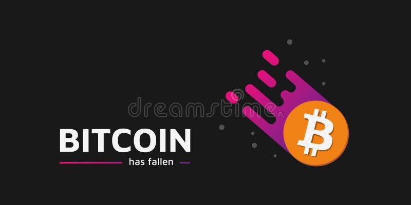Falling Coin as a comet. The fall of bitcoin. Bitcoin has fallen. vector illustration