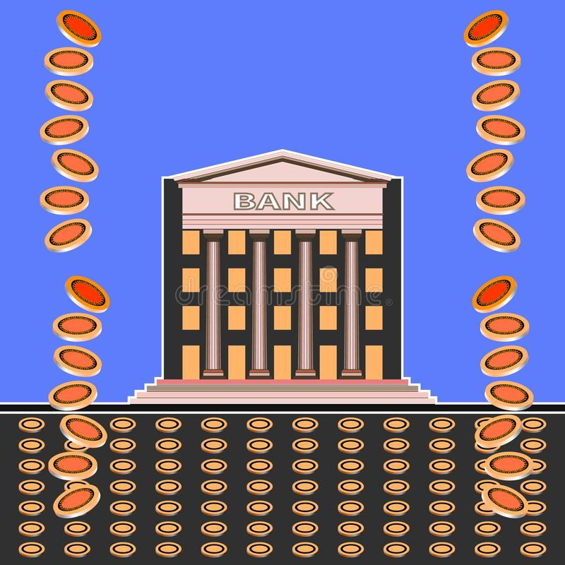 Falling coins and front view of a bank building royalty free illustration