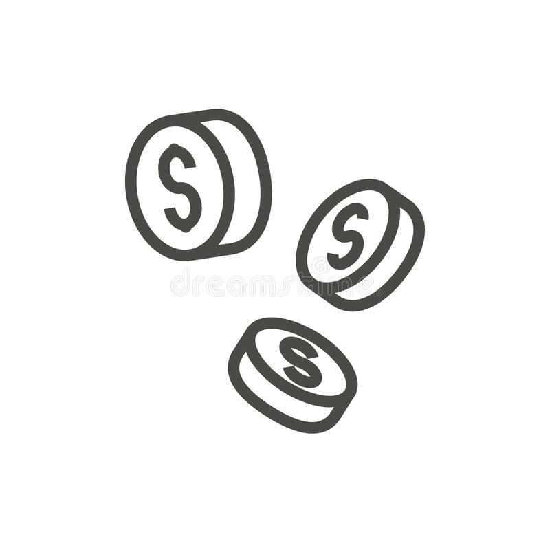 Falling coins icon vector. Outline money. Line cash symbol. royalty free illustration