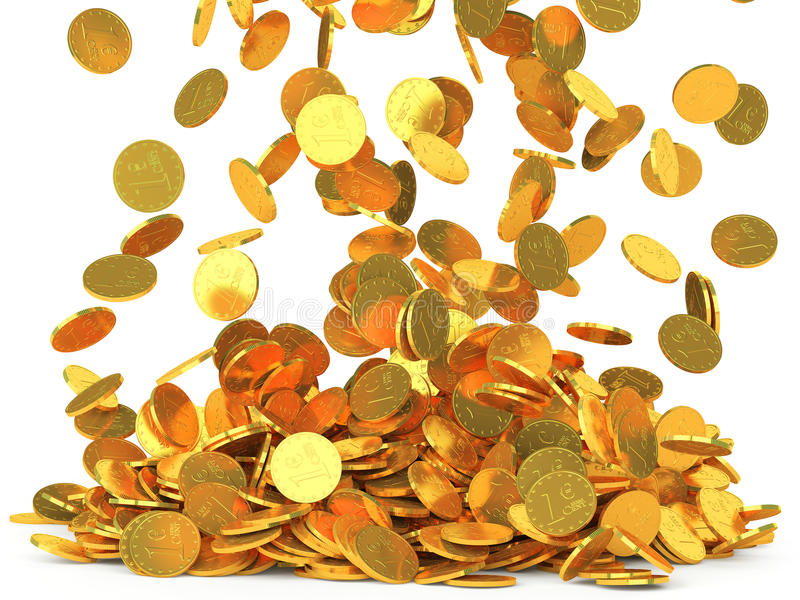 Falling coins on white background. Rain from falling gold coins on white background. Finance concept stock illustration
