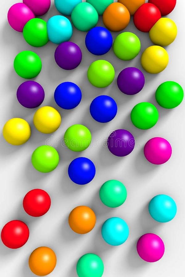 Falling colorful 3D balls on a white background. royalty free illustration