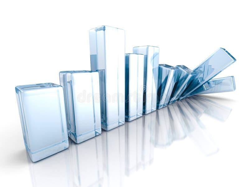 Falling Crisis Business Bar Chart Diagram. 3d render illustration vector illustration