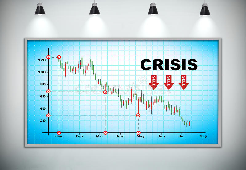 Falling crisis graph stock photography