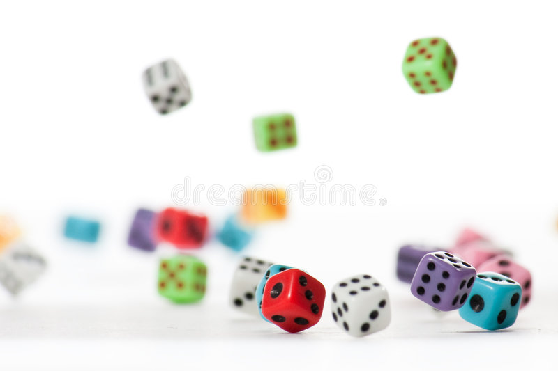 Falling Dices 2. Many falling dices, with only several of them in focus royalty free stock photography