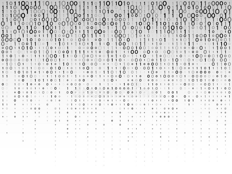 Falling digital numbers on a grey background. Abstract binary computer code. vector illustration
