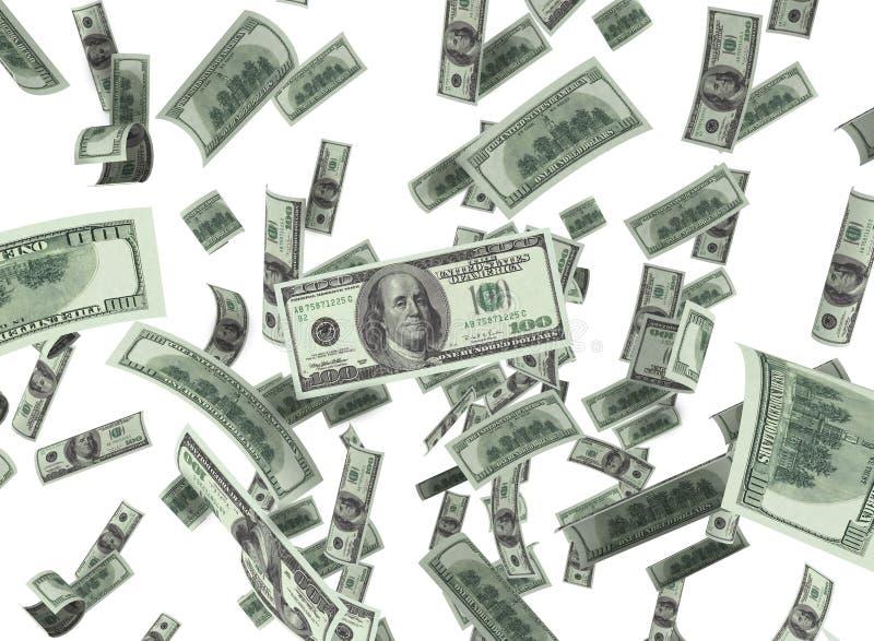 The falling dollar. Falling American dollars, on white background