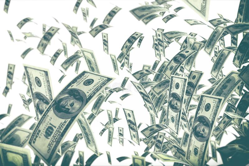 Falling dollar bills isolated on white background stock image