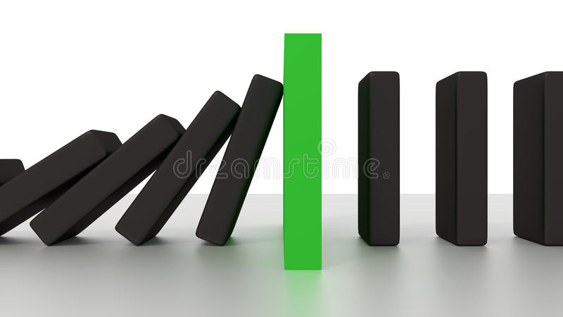 Falling Domino Row With Green Stop Piece On The Desk stock photography