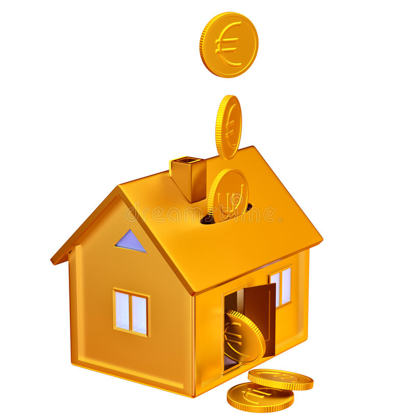 Falling Down Euro Coins To The Money Box Stock Photos
