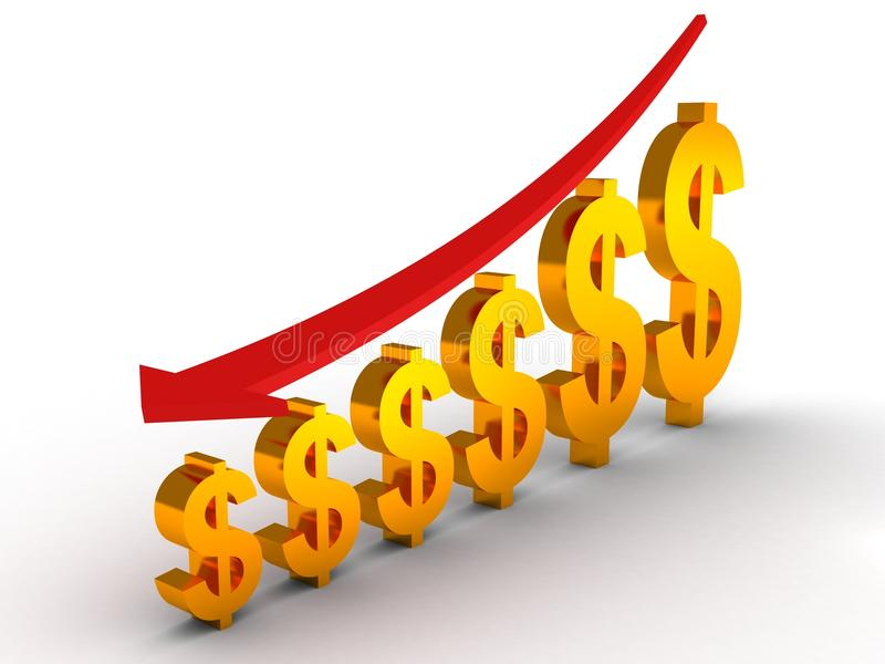 Falling down graph of the Dollar royalty free illustration