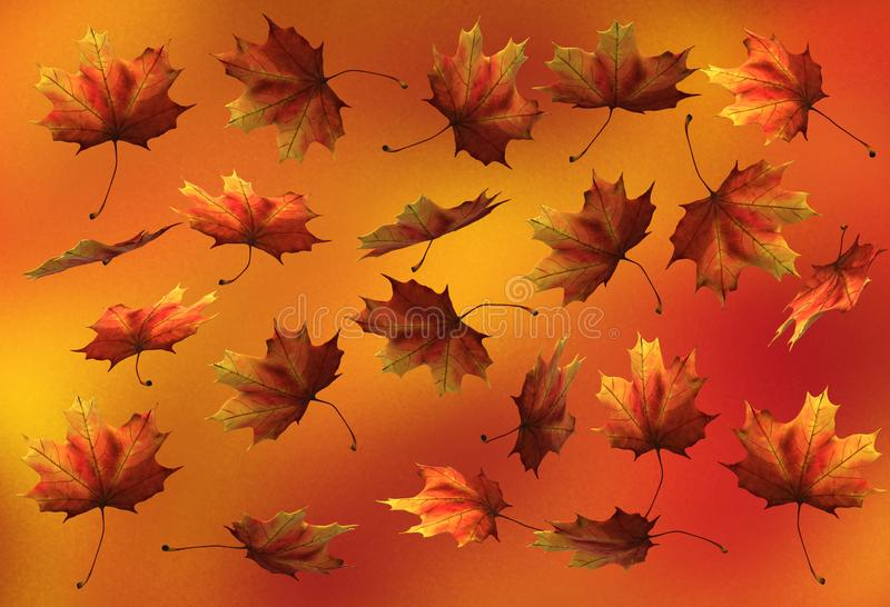 Falling dried yellow orange leaves. A computer generated illustration image of some dried falling yellow orange leaves against a orange yellow gradation backdrop vector illustration