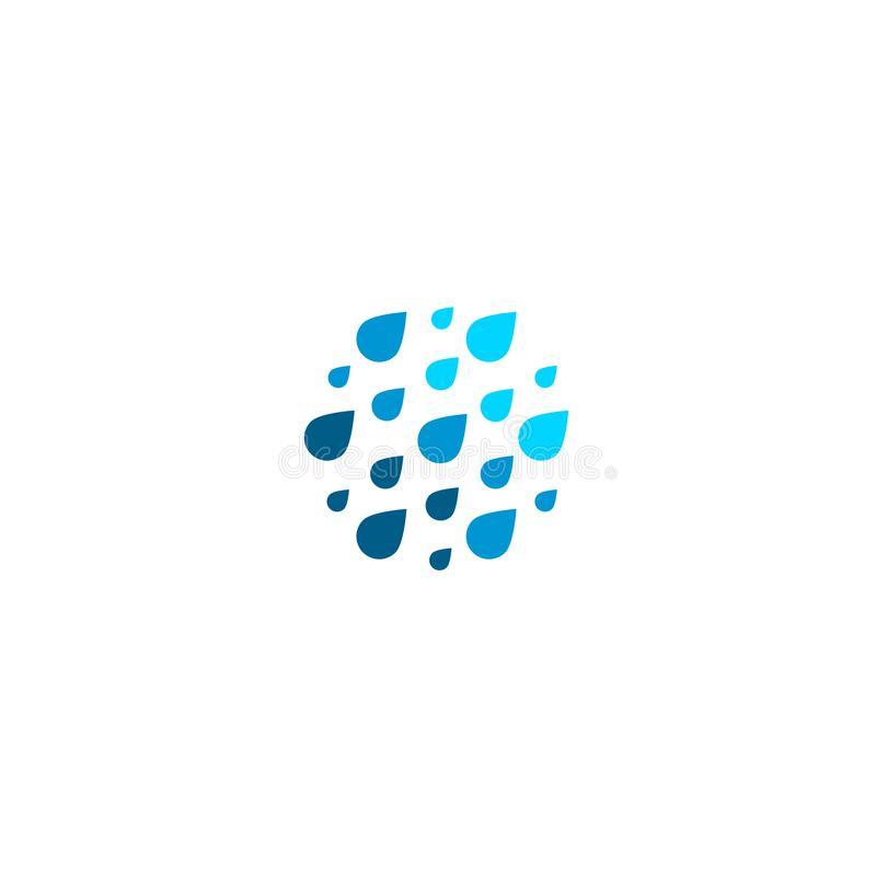 Falling drops icon. Clean water logo template. Round rainy weather logotype. Simple ombre gradient flat style sign. Blue royalty free illustration
