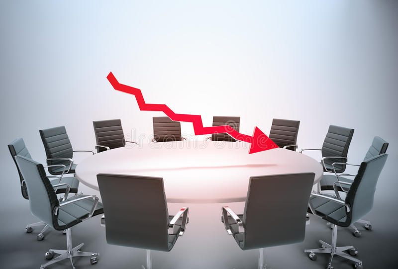 Falling earnings report. Conference table with a downward arrow graph - falling earnings report concept stock illustration