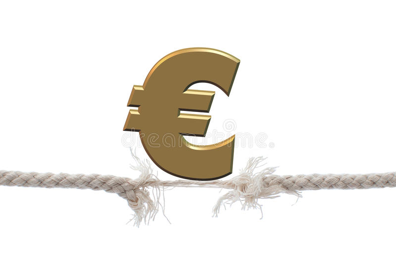 Falling euro. Euro symbol on top of a tightrope stock photo