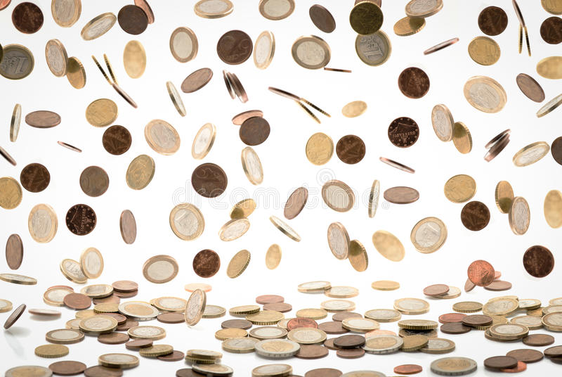 Download Falling euro coins stock photo. Image of bank, crash - 26781058