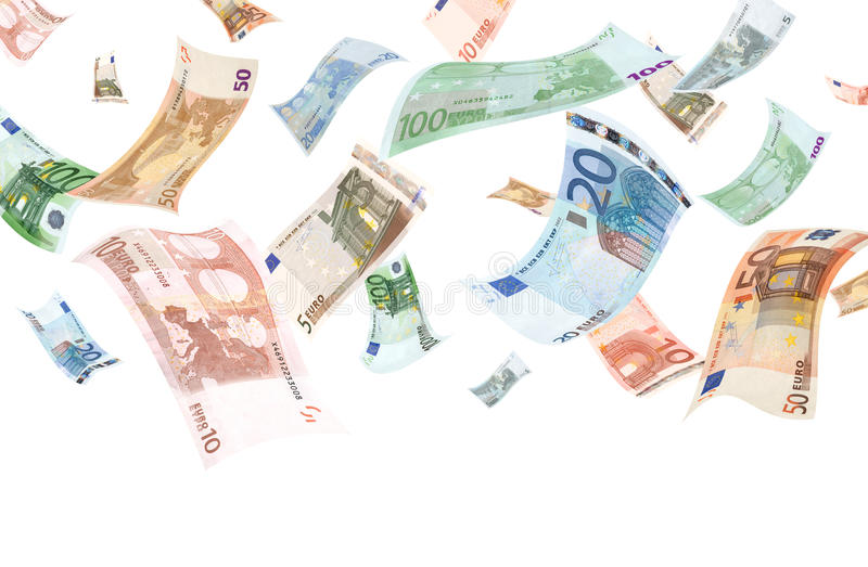 Falling euros (isolated) stock images