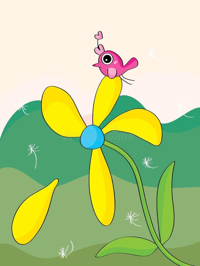 Falling flower petal bird. Illustration abstract falling flower petal bird landscape background royalty free illustration