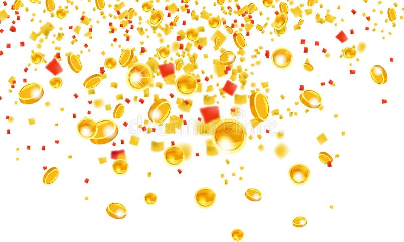 Falling flying gold coins with tinsel money from the top golden rain. On a white background. Jackpot or success concept royalty free illustration