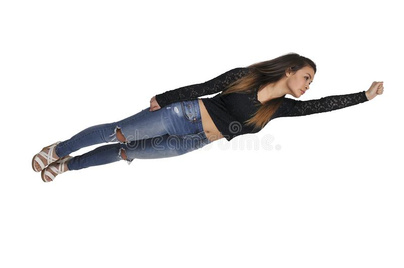 Falling or Flying Woman. Beautiful young woman flying or falling through the air royalty free stock photography