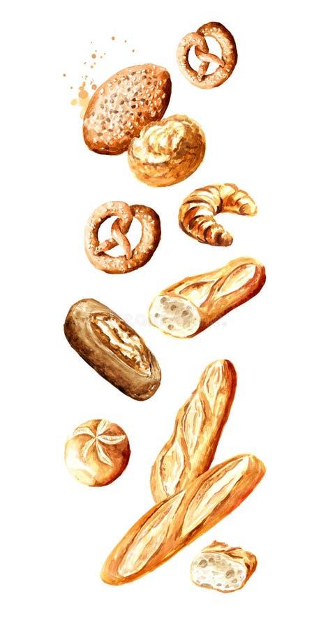 Falling Fresh pastries Handgetekende waterkleurillustratie geïsoleerd op witte achtergrond vector illustratie